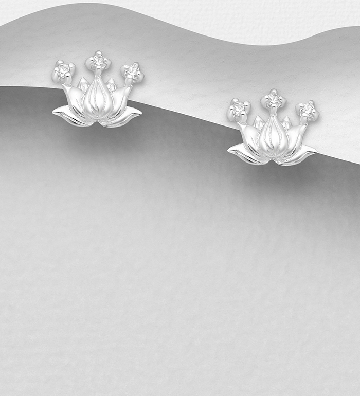 1063-2787 - 925 Sterling Silver Lotus Push-Back Earrings, Decorated with CZ Simulated Diamonds