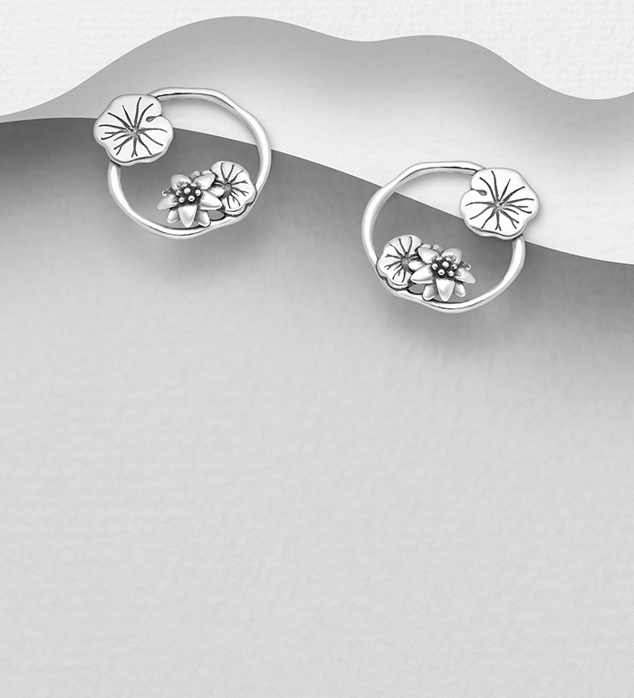 1063-2788 - 925 Sterling Silver Oxidized Lotus and Leaf Push-Back Earrings
