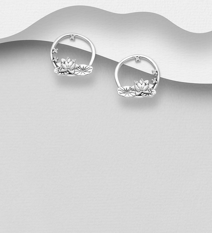 1063-2789 - 925 Sterling Silver Oxidized Lotus and Leaf Earrings, Decorated with CZ simulated Diamonds