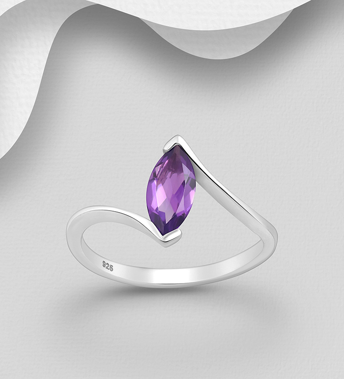 1181-3764 - La Preciada - 925 Sterling Silver Solitaire Ring, Decorated with Amethyst