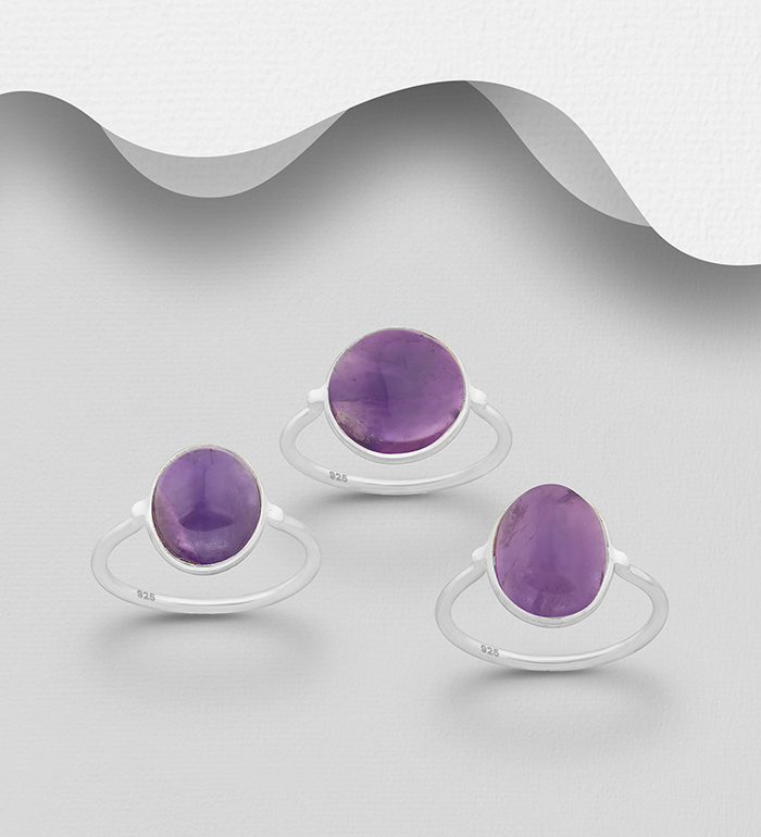 1851-453 - JEWELLED - 925 Sterling Silver Ring, Decorated with Oval Amethyst. Handmade. Design, Shape and Size Will Vary