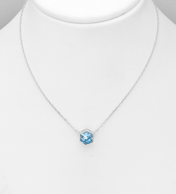 1583-483 - Sparkle by 7K - 925 Sterling Silver Hexagon Necklace, Decorated with Authentic Swarovski<sup>®</sup> Crystal