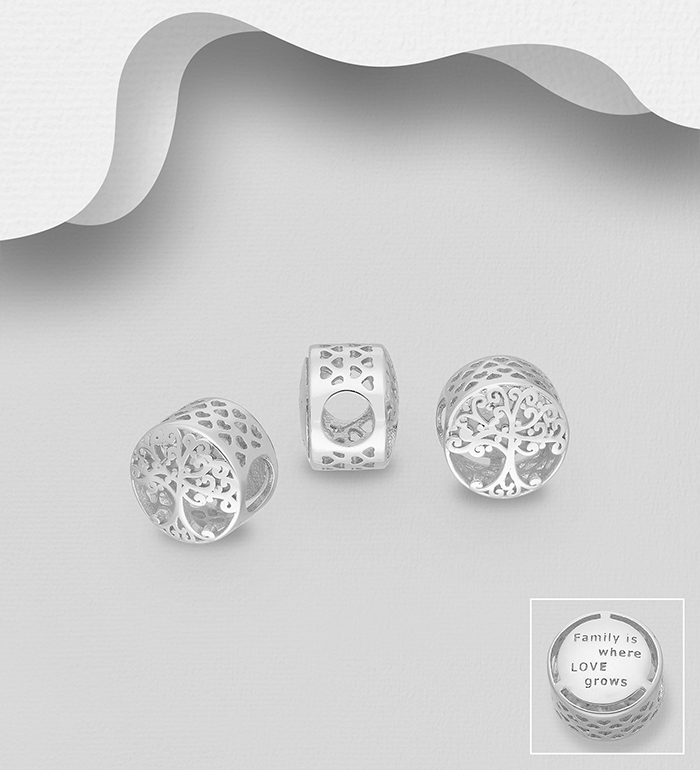 1559-550 - 925 Sterling Silver Heart and Tree of Life Bead