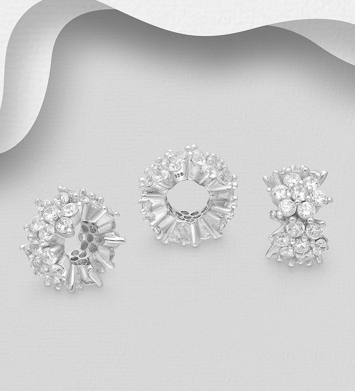 1559-552 - 925 Sterling Silver Flower Bead, Decorated with CZ Simulated Diamonds