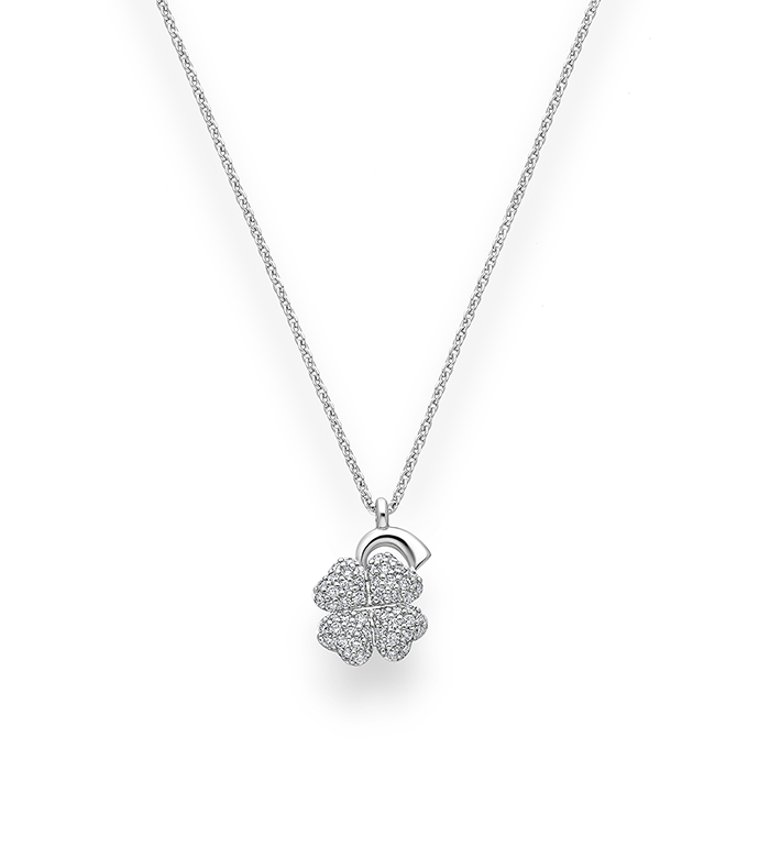 33-0089 - Mini Clover Necklace in 18K White Gold, Decorated with Diamonds.