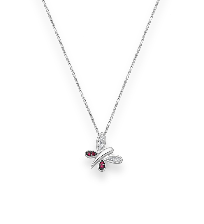 33-0090 - Butteryfly Necklace in 18K White Gold, Decorated with Diamonds and Ruby.