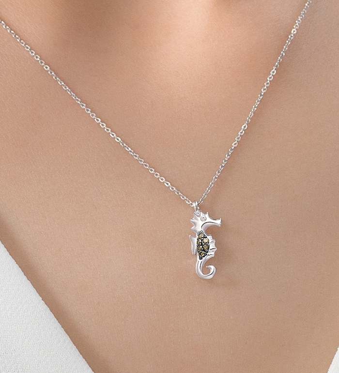 33-0091 - Seahorse Necklace in 18K White Gold, Decorated with Brown Diamonds.