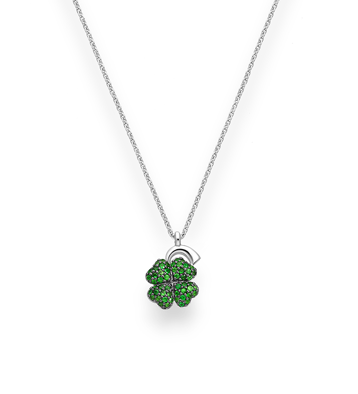 33-0092 - Mini Clover Necklace in 18K White Gold, Decorated with Tsavorites