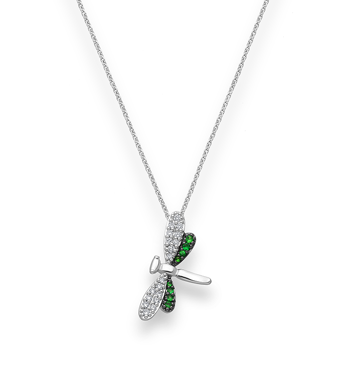 33-0093 - Dragonfly Necklace in 18K White Gold, Decorated with Diamonds and Tsavorite.