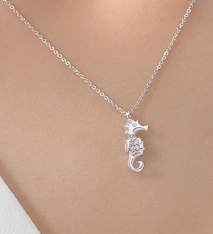 33-0094 - Seahorse Necklace in 18K White Gold, Decorated with Diamonds.