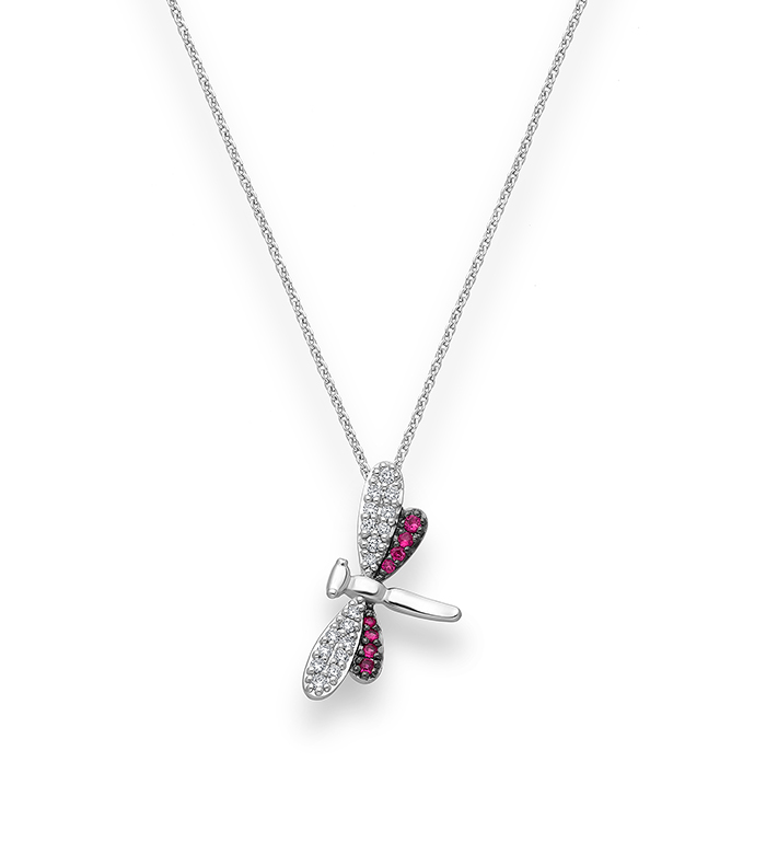 33-0095 - Dragonfly Necklace in 18K White Gold, Decorated with Diamonds and Ruby.