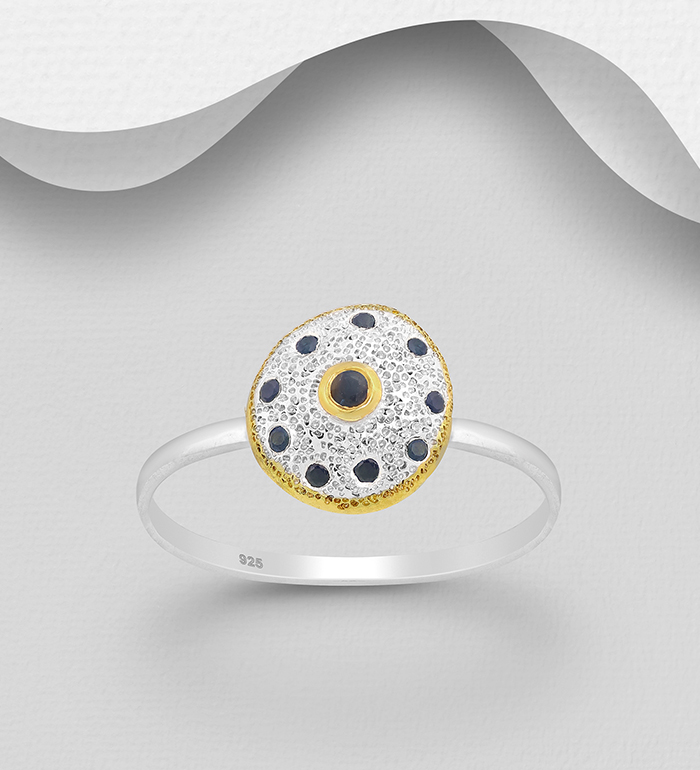 1916-159 - ADIORE JEWELS - 925 Sterling Silver Ring, Decorated with Blue Sapphires, Plated with 3 Micron 22K Yellow Gold and White Rhodium