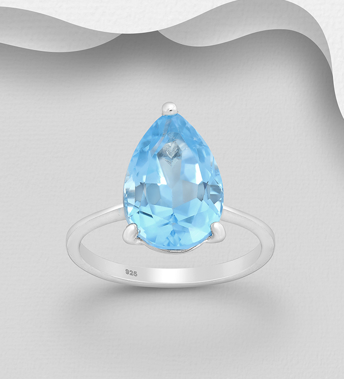 1181-3782 - La Preciada - 925 Sterling Silver Solitaire Ring, Decorated with Sky-Blue Topaz