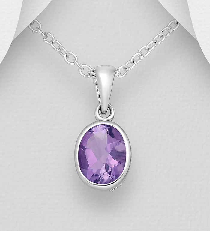1181-3786 - La Preciada - 925 Sterling Silver Solitaire Pendant, Decorated with Oval-Shaped Amethyst