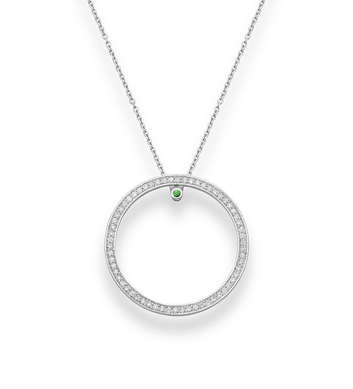 33-0098 - Circle of Life Necklace in 18K White Gold, Decorated with Diamonds and Tsavorite.