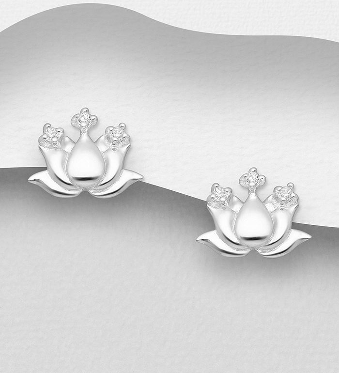 1063-2850 - 925 Sterling Silver Lotus Push-Back Earrings Decorated With CZ Simulated Diamonds