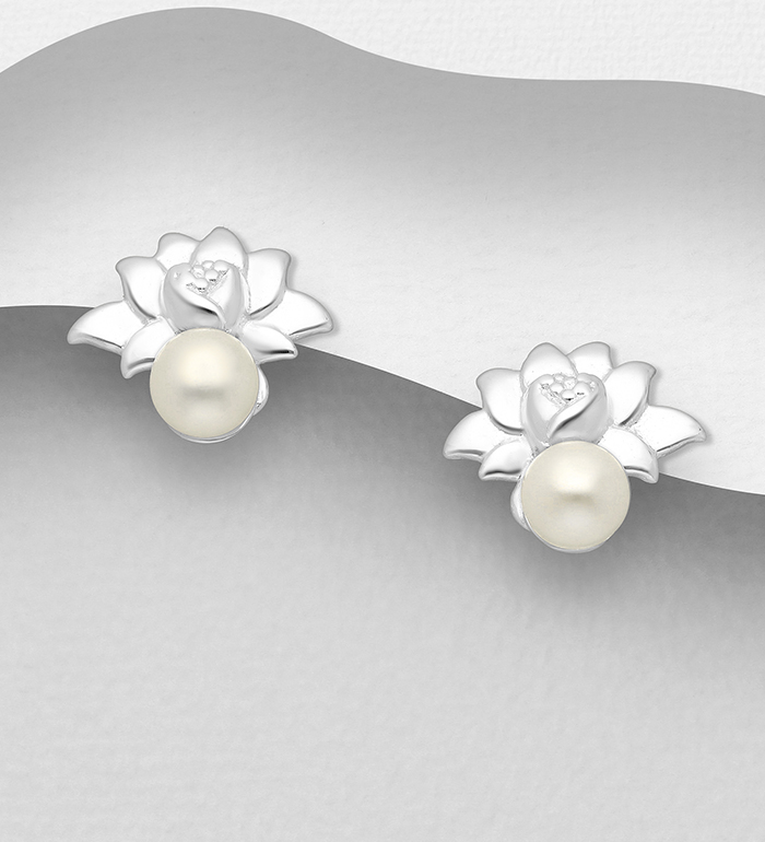 1063-2856 - 925 Sterling Silver Lotus Push-Back Earrings, Decorated with Freshwater Pearls