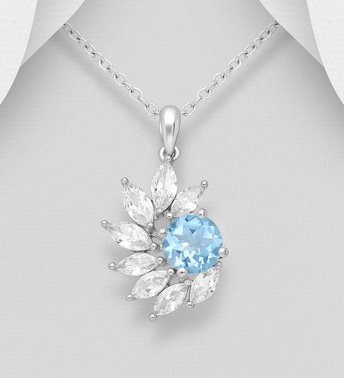 1181-3793 - La Preciada - 925 Sterling Silver Pendant, Decorated with CZ Simulated Diamonds and Various Gemstones