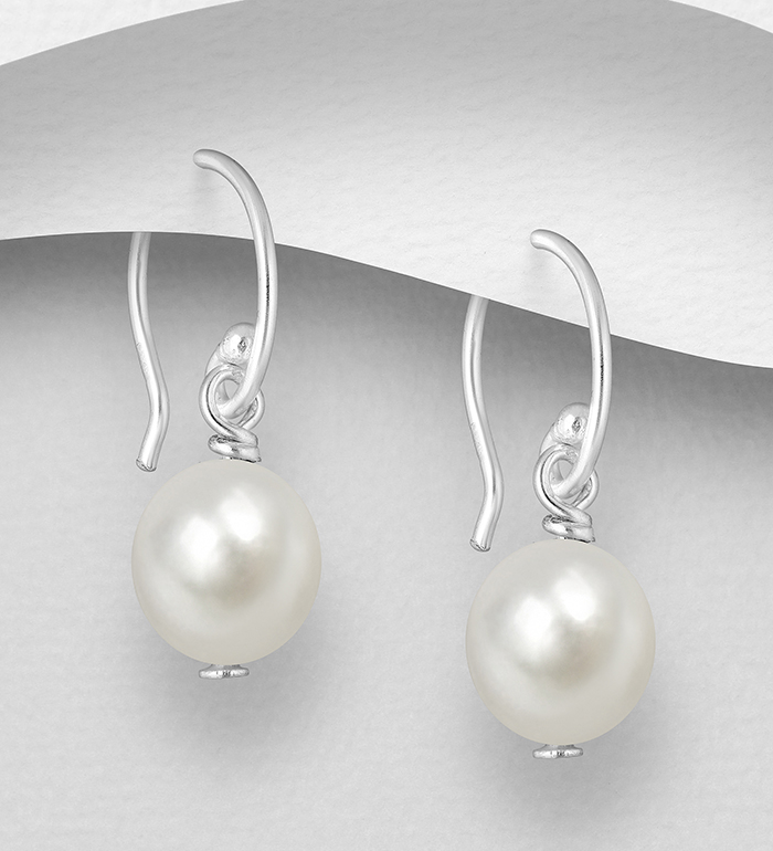 382-5532 - 925 Sterling Silver Hook Earrings, Decorated with Freshwater Pearls