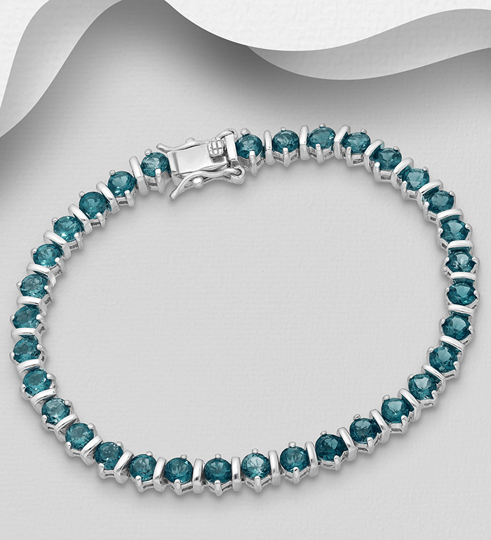 1181-3800 - La Preciada - 925 Sterling Silver Tennis Bracelet, Decorated with London Blue Topaz
