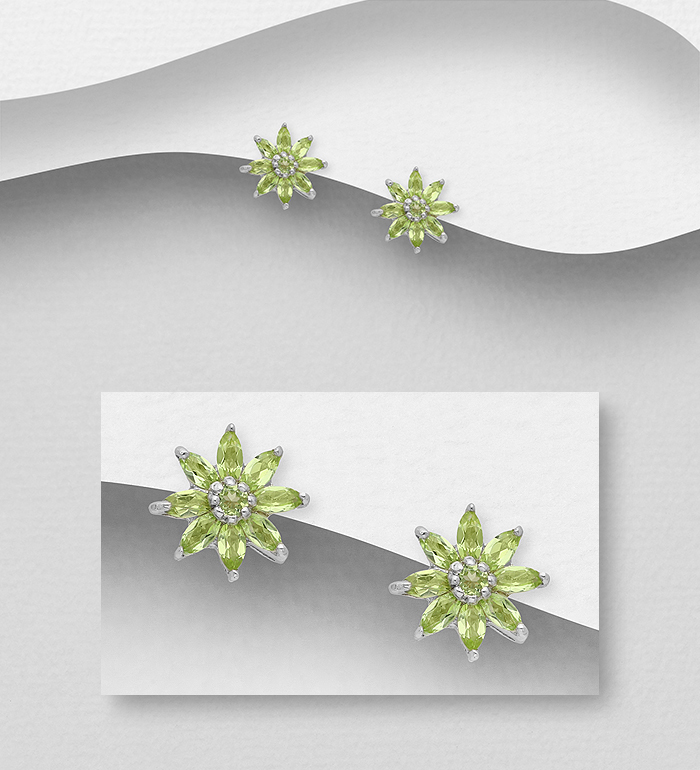 1181-3804 - La Preciada - 925 Sterling Silver Flower Push-Back Earrings, Decorated with Garnets or Peridots
