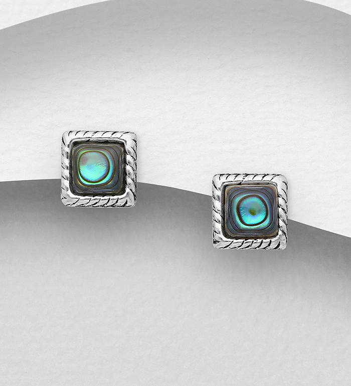 789-4000 - 925 Sterling Silver Oxidized Square Push-Back Earrings, Decorated with Shell