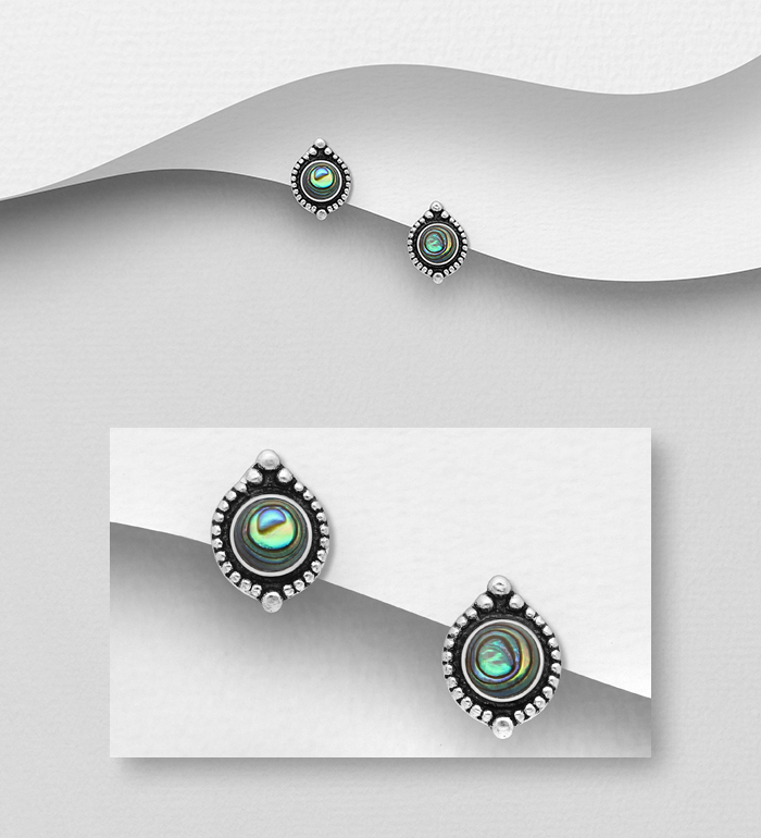 789-4001 - 925 Sterling Silver Oxidized Push-Back Earrings, Decorated with Shell