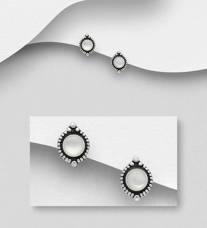 789-4001A - 925 Sterling Silver Oxidized Push-Back Earrings, Decorated with Shell