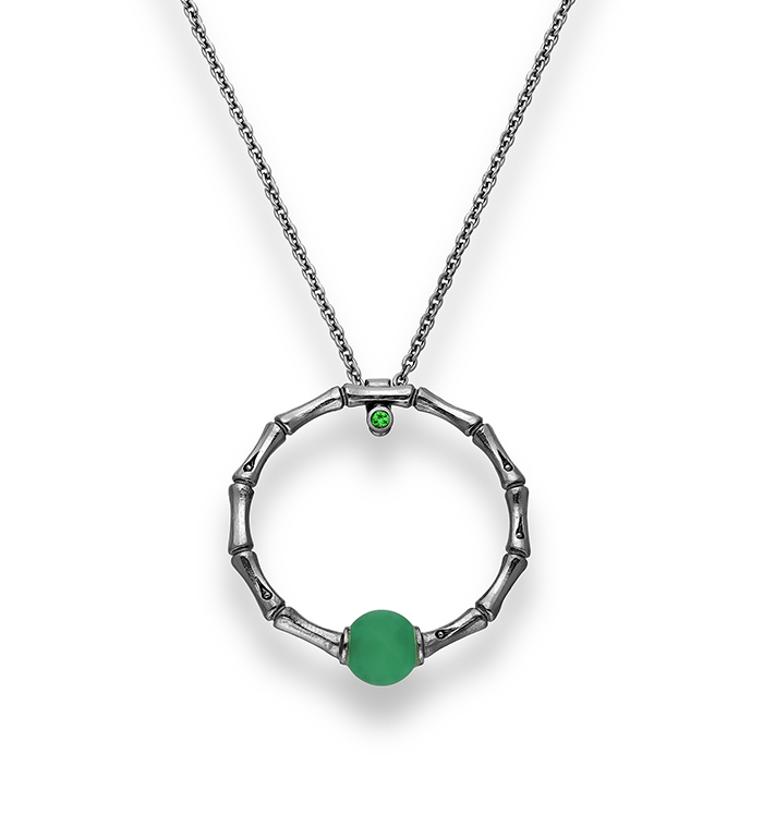 33-0101 - Italian Craftmanship - Circle of Life Black Bamboo Necklace in Sterling Silver with Green Carnelian and Tsavorite, Plated with Black Rhodium