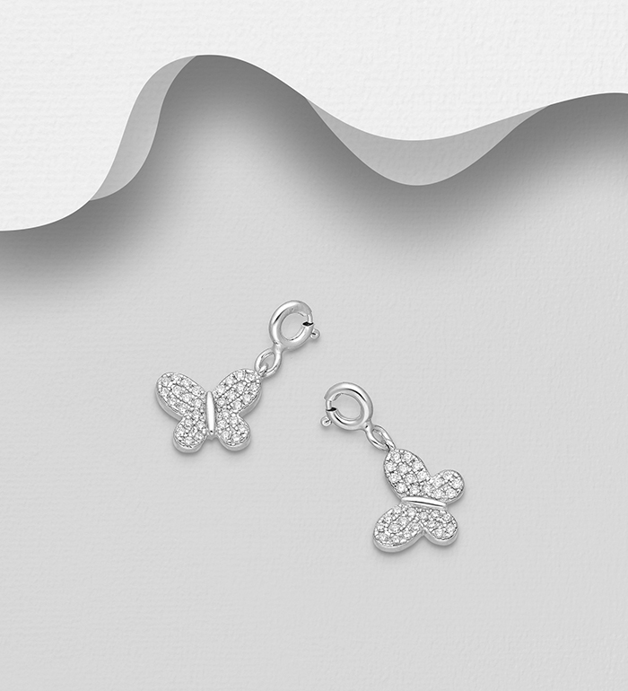 983-1032 - 925 Sterling Silver Butterfly Charm, Decorated with CZ Simulated Diamonds