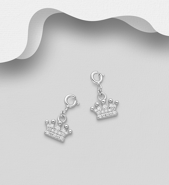 983-1034 - 925 Sterling Silver Crown Charm, Decorated with CZ Simulated Diamonds