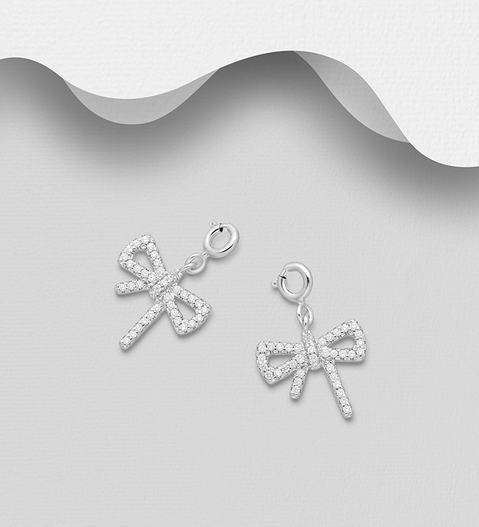 983-1038 - 925 Sterling Silver Bow Charm, Decorated with CZ Simulated Diamonds