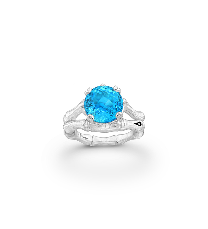 33-0102 - Italian Craftmanship - Bamboo Ring in Sterling Silver with Sky-Blue Topaz and Tsavorites