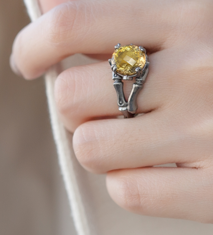 33-0103 - Italian Craftmanship - Bamboo Ring in Sterling Silver with Citrine and Tsavorites, Plated with Black Rhodium