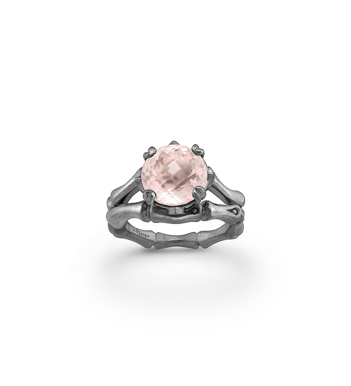 33-0104 - Italian Craftmanship - Bamboo Ring in Sterling Silver with Pink Quartz and Tsavorites, Plated with Black Rhodium