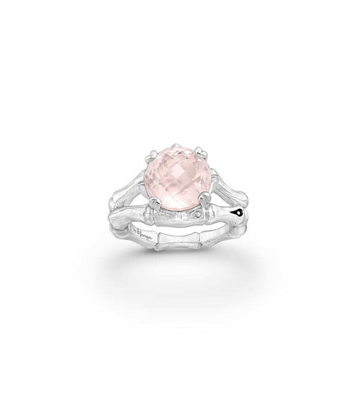 33-0105 - Italian Craftmanship - Bamboo Ring in Sterling Silver with Pink Quartz and Tsavorites