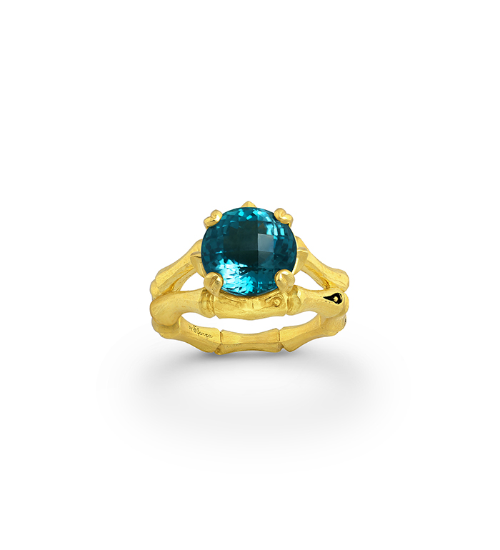 33-0106 - Italian Craftmanship - Bamboo Ring in Sterling Silver with London Blue Topaz and Tsavorites, Plated with 18K Yellow Gold
