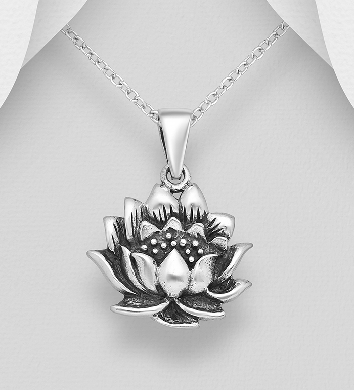 706-31683 - 925 Sterling Silver Oxidized Lotus Pendant