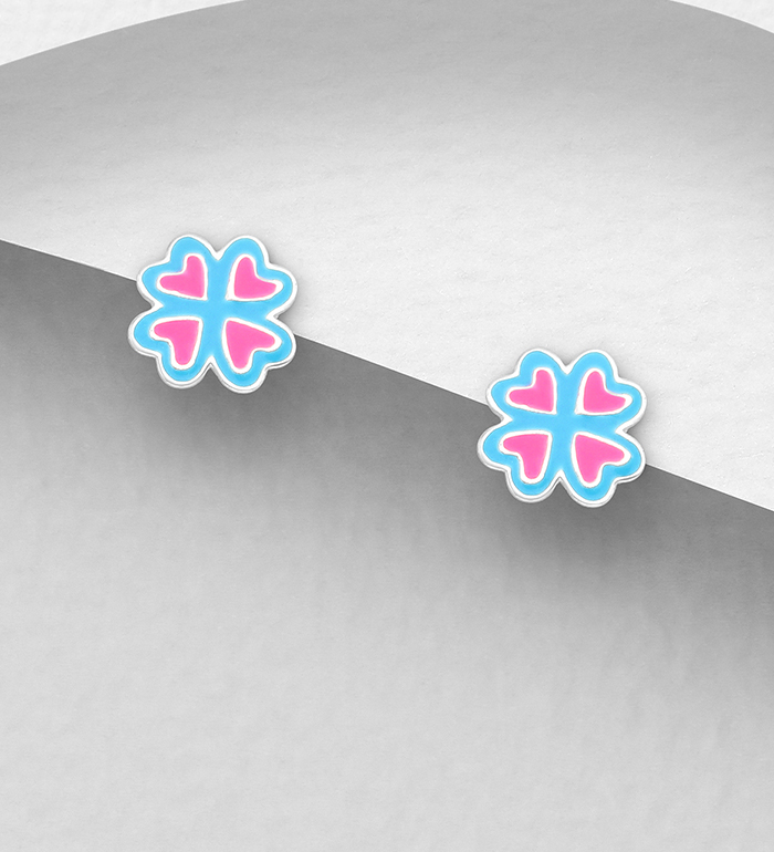 1068-1780 - 925 Sterling Silver Clover Push-Back Earrings, Decorated with Colored Enamel