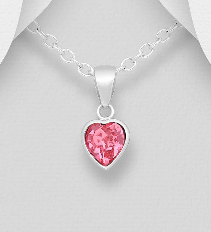 1583-507 - Sparkle by 7K - 925 Sterling Silver Heart Pendant, Decorated with Various Authentic Swarovski<sup>®</sup> Crystal