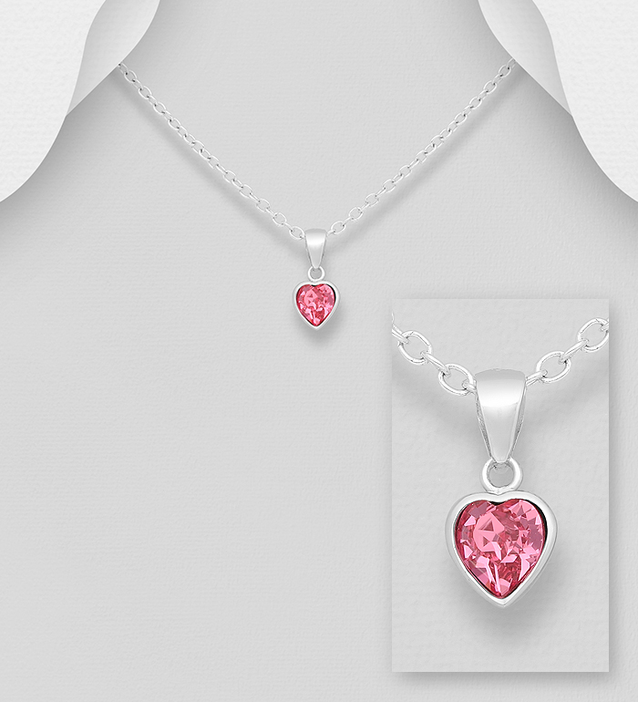 1583-507 - Sparkle by 7K - 925 Sterling Silver Heart Pendant, Decorated with Various Verifiable Authentic Swarovski<sup>®</sup> Crystal