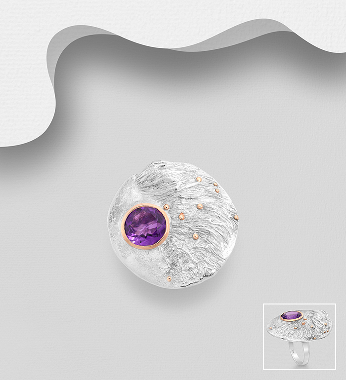 1916-190 - ADIORE JEWELS - 925 Sterling Silver Solitaire Ring, Decorated with Amethyst, Plated with 3 Micron 22K Yellow Gold