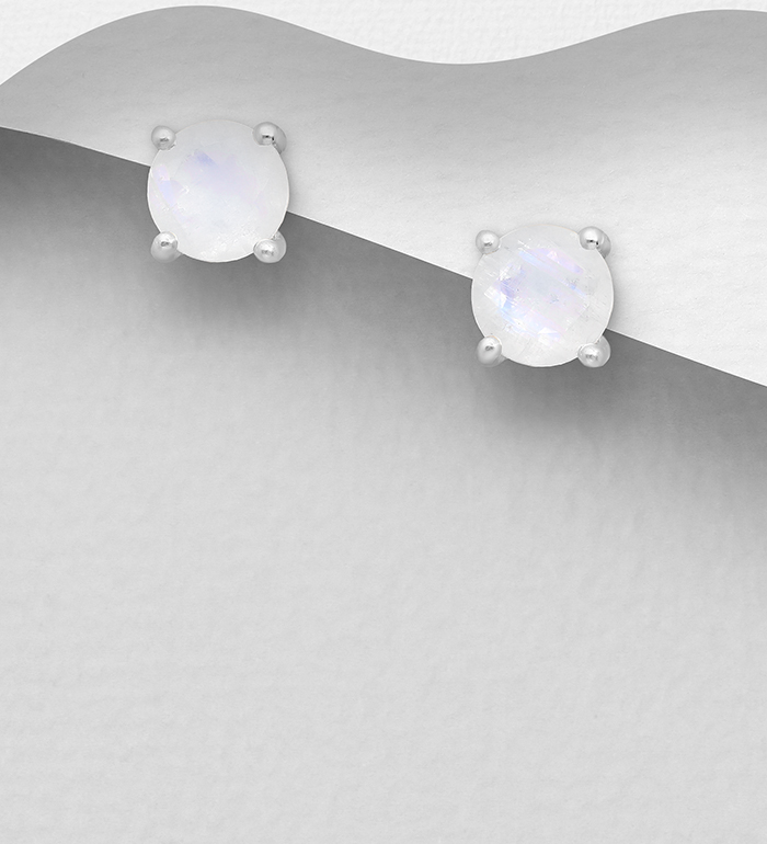 1181-3859 - La Preciada - 925 Sterling Silver Push-Back Earrings, Decorated with Rainbow Moonstone