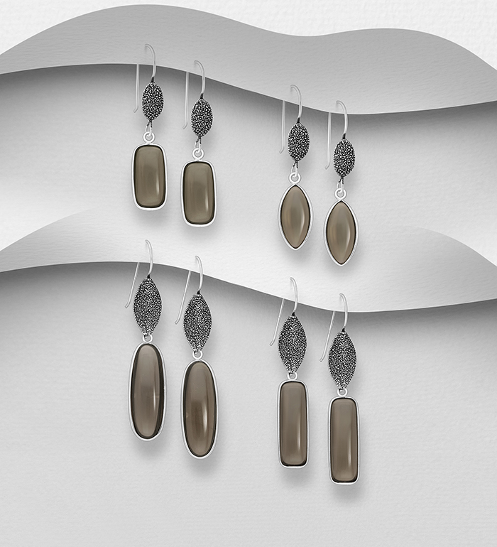 1851-487 - JEWELLED - 925 Sterling Silver Oxidized Hook Earrings, Decorated with Smoky Quartz. Handmade. Design, Shape and Size Will Vary