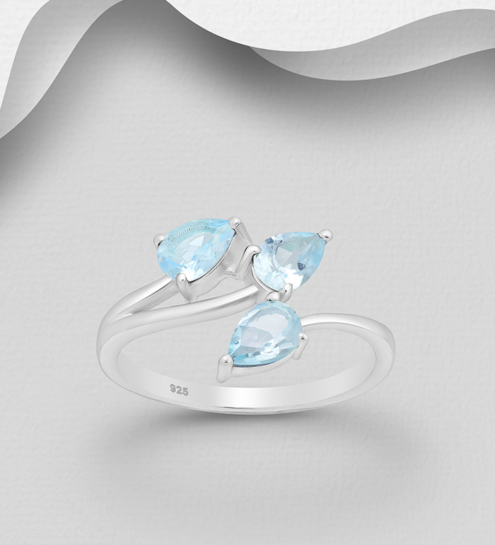 1181-3860B - La Preciada - 925 Sterling Silver Adjustable Ring, Decorated with Sky-Blue Topaz