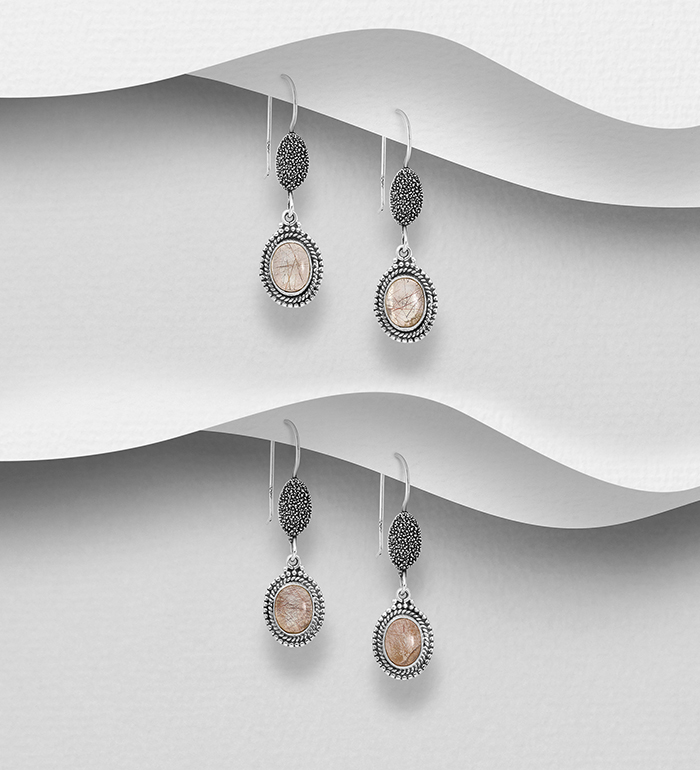 1851-491 - JEWELLED - 925 Sterling Silver Oxidized Hook Earrings, Decorated with Rutilated Quartz. Handmade. Design, Shape and Size Will Vary.