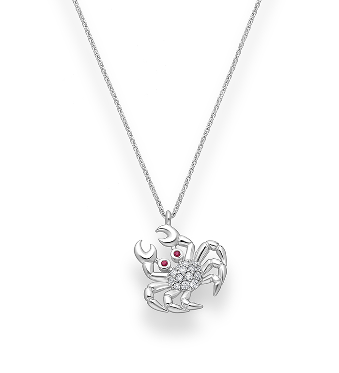 33-0107 - Crab Necklace in 18K White Gold, Decorated with Diamonds and Ruby.
