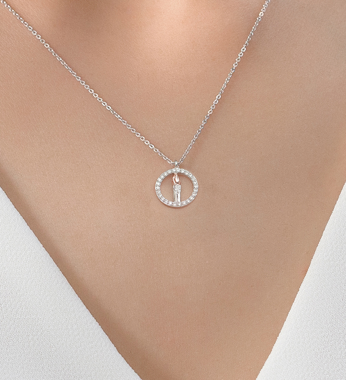 33-0108 - Candle Necklace in 18K White Gold, Flame Plated with Pink Gold, Decorated with Diamonds.