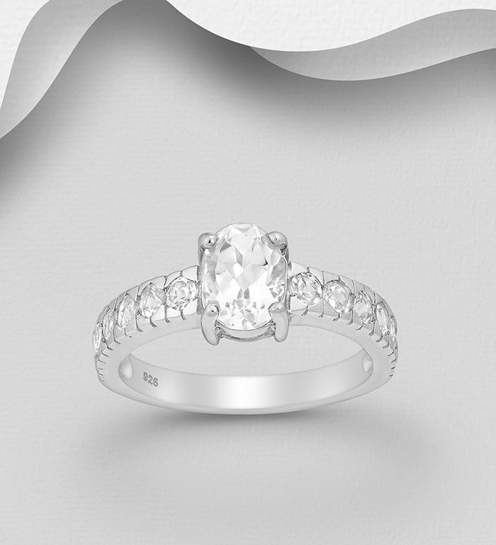 1181-3241A - 925 Sterling Silver Ring Decorated with White Topaz