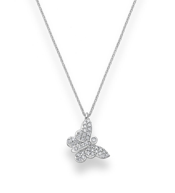 33-0110 - Butterfly Necklace in 18K White Gold, Decorated with Diamonds.